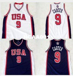 Wholesale Olympic Basketball Jerseys - Men #9 Vince Carter 2000 Olympic College Jersey Champion White Navy Retro Stitched BLUE WHITE or custom any name or number jersey