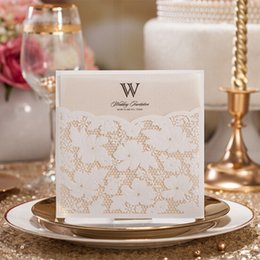 Wholesale Pearl Wedding Invitation Cards - Wholesale- (50 pieces lot)Laser Cut Elegant Pearl Flowers Personality Wedding Invitation Card Includes Envelope Shipping Free Wholesale