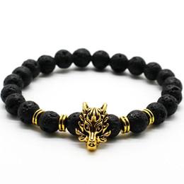 Wholesale bracelet wolf - Brand Antique Silver Animal Wolf Head Bracelet Men Jewelry Fashion Black Frosted Volcano Lava Stone Beads Men Bracelet NE856