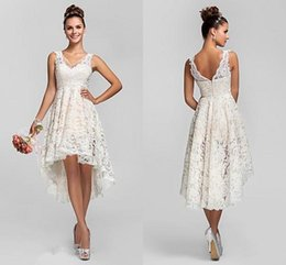 Wholesale Lace White Backless Mini Dress - Simple Short Lace Wedding Dresses V Neck Sleeveless Hi Lo Wedding Dresses Cheap Backless Beach Wedding Gowns Fast Shipping Bridal Dresses