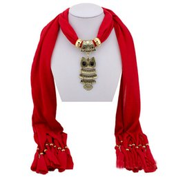 Wholesale Owl Pendant Pink - Ladies Girls Scarves Necklace Scarves Gilded Owl Pendant Jewelry Tassels Scarf Shawl Retro Tassels Wraps