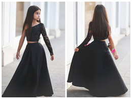Wholesale Multi Color Beaded Pageant Dresses - 2018 Flower Girl Dresses Girls Pageant Dresses for Teens Two Pieces One Shoulder Black Lace Taffeta Custom Made Beaded Applqiue