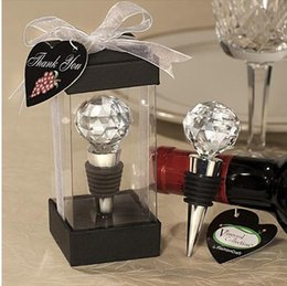 Wholesale Gift Boxes For Wine Stoppers - red wine bottle stopper Plugger cystal ball Exquisite gift box for wedding guests party etc Wholesale retail TY1451