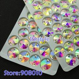 Wholesale Rivoli 18mm - New Shiny Crystal Clear AB Color 20pcs 18mm Round Rivoli Sew-on Stone Flatback Sewing on Rhinestones