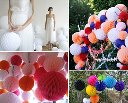 Wholesale Hanging Paper Flower Decorations - Paper Lanterns Paper Hand Bouquets Artificial Flowers Sweet Wedding Party Hanging Tissue Paper Pom Pom Lantern Decoration Balls Party Decor