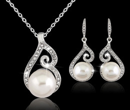 Wholesale Crystals Rhinestones Pearls - 2016 Newest Women Crystal Pearl Pendant Necklace Earring Jewelry Set 925 Silver Chain Necklace Jewelry 12pcs Sale