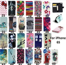 Wholesale Owl Case For Iphone - Flower Wallet Leather case For iphone 6s Tribal Owl Wave butterfly Cover with stand holder 2015 new