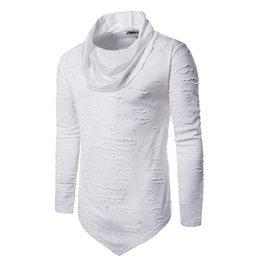 Camisa dos homens novos Tops de Manga Longa Cor Sólida Colar Gola Irregular Rasgado T Shirt Pullover de Fornecedores de homens camiseta
