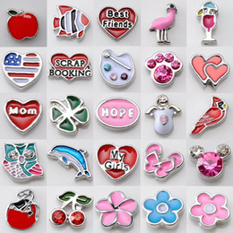 Wholesale Top Spikes Wholesale - Top Sale DIY ALloy Crystal Beads Floating Charm Locket DIY enamel crystal beads Mix Style 100pcs Sale