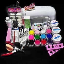 Wholesale Gel Lamp Kit - Wholesale-2015 Latest Hot Pro 9W UV GEL White Lamp & 12 Color UV Gel Nail Art Tool Kits Sets