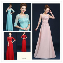Wholesale Dress Slim Flower - 2015 Banquet Evening Dress Long Paragraph Slim Wedding Dresses With Sleeves Wedding Lace Chiffon Empire Bridesmaid Dress Long Prom Dress