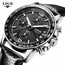 Wholesale men real watches - Brand LIGE new men's watches quartz watch men real three dial luminous waterproof 30M outdoor sports steel watch