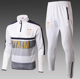 Wholesale Italia Football - 2017 2018 Survetement football Italy tracksuit italia 17 18 training suit kits Soccer Chandal DYBALA training tight pants sweater shirt