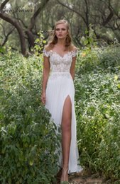 Wholesale Sheer Thigh Highs - C.V Thigh-High Slits Lace Appliques Embroidery Country Wedding Dresses 2017 Cap Sleeve Backless Custom Made Sexy Beach Bridal Dresses W0237