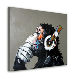 Wholesale Famous Artists Abstract - NEW 2015 100% hand-painted Free shipping famous oil painting high quality Modern artists painting Lovely gorilla AN-102A