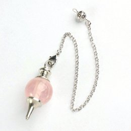Wholesale Pendulum Balls - Rose Quartz 20mm Ball Bead Natural Gem Stone Reiki Pendulum Pendant Healing Chakra Dowsing Mystic Hypnosis Pagan Wicca Witch10pcs lot