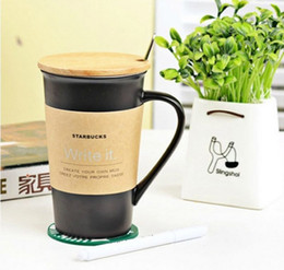 Wholesale High Quality Coffee Mugs - 10 pcs  lot High Quality Starbucks ceramic coffee cup, 401-500ml Starbucks Matt cup with cover and spoon,Mug, free shipping