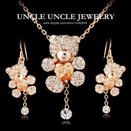 Wholesale Cute Sweet Heart - Sweet!!! Rose Gold Color Cute Small Bear Design Champagne Heart Shape Zircon Rhinestone Jewelry Set Necklace Earrings Wholesale