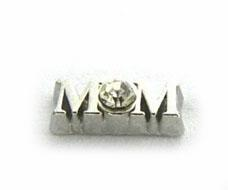 Wholesale Glass Memory Living Locket Letters - 20PCS lot Silver Rhinestone Mom DIY Alloy Floating Locket Charms Fit For Magnetic Glass Living Memory Lockets Fashion Jewelry Making