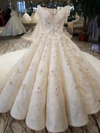 Wholesale Wow Ball - New Luxurious Arabic Champagne Crystal Beading Lace Flower Ruffle Wedding Dress Bride Princess WOW Wedding Dresses Bridal Gown Custom Made