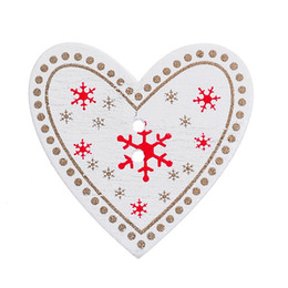 Wholesale Free Sewing Pattern - 2016 New Style 50PCs White Christmas Heart Pattern Wooden Buttons Fit Sewing and Scrapbook Free Shipping party decoration