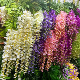 Wholesale Wisteria Home Decor - 50pcs Wisteria Wedding Decor 110cm 75cm 6 colors Artificial Decorative Flowers Garlands for Party Wedding Home For Free Shipping