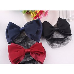 Wholesale Cover Buns - Wholesale- 3 Color Fashion Women Lady Bow Barrette Hair Clip Cover Hairpins Bowknot Bun Snood Hair Band Accessories