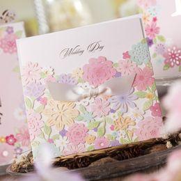Wholesale Convite Casamento Laser - Wholesale- Free Shipping 10pcs Laser Cut Flower Wedding Invitations Wishmade Convite Casamento Event & Party Supplies CW5031