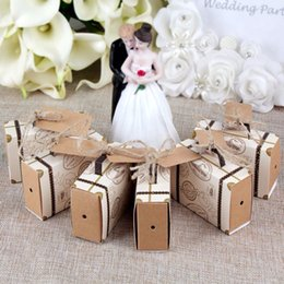 Wholesale Decoration Suitcase - Ourwarm 10pcs Wedding Favor Chocolate Boxes Vintage Mini Suitcase Candy Box Sweet Bags for Wedding Favors and Gifts Decoration 2017