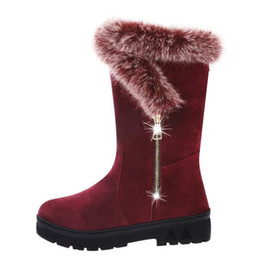 Wholesale Hot Long Boots - Hot Selling Europe Warm Winter Snow Boots Plus Velvet Thick Long Villi Boots Korean Students Warm Shoes Size EU36-41