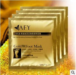 Wholesale Detox Foot Care - 1000 Pairs 24K Gold Revitalizing Exfoliating Softening Feet mask Removes Cuticles callus Dead cells foot care In stock
