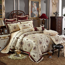 Wholesale Silk King Size Bedspreads - 4 6 Pcs Luxury Silk Jacquard Coffee Bedding Sets King Queen Size Wedding Bedclothes Bedspread duvet Cover  Pillowcases