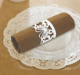 Wholesale Cheap Paper Napkins Wholesale - Wholesale Handmade Cheap Paper Cutting Butterfly and Flower Napkin Rings for Wedding Table Decoration