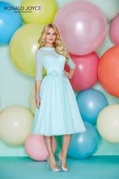 Wholesale Cheap Tea Length Bridesmaid Dressed - 2016 Tea Length Bridesmaid Dresses for Cheap Bridesmaids Dresses Ronald Joyce 29158 Chiffon Prom Dresses Bateau Sash 3 4 Long Sleeve