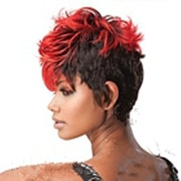 Wholesale Curly Synthetic Hair Wigs - Synthetic Mix Color (red&black) 8 inches Short Curly Women's Fashion Synthetic Party Wig Hair Wigs