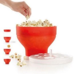 Wholesale Bowl Maker - Pop Corn Bowl With Lid Microwaveable Foldable Popcorn Maker Microwave Safe Kitchen Bakingwares DIY Popcorn Bucket CCA8143 20pcs