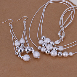 Wholesale Three Lines Beads Jewelry - S122 Fashion Party Jewelry Set 925 Silver Three lines beads necklace & earrings free shipping wedding gift for woman