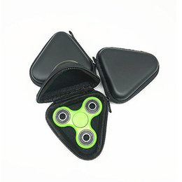 Wholesale Black Glossy Bags - Triangle Fidget Spinner Cases EVA Portable Carry Storage Bag Box Stress Relief Toys Bags Black Zipper Case High Quality wen4743