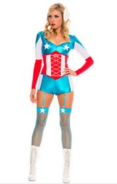 Wholesale Sexy Female Soldiers - Wholesale-Avengers Captain America Movie Costume Halloween Sexy Cosplay for Adult Women Catsuit Jumpsuit Superhero Female Soldier Outfit