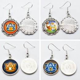 Wholesale Tiger Face - 10Pairs Sports Team NCAA Auburn Tigers Charms Glass Earings Jewelry Stud Drop Earrings