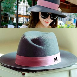 Wholesale Wide Brim Cloche Hat - Wholesale-Retail 2015 New Wool Fedora Women Winter Hats Maison Michel Trilby Wide Brim Fedora Bucket Hat Stylish Cloche Felt Caps Bowler