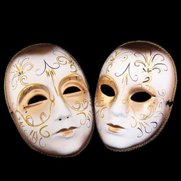 Wholesale venice paintings - Classic European Halloween Venice Mask Full Face Color Paint Pulp Masquerade Party Mask Cosplay Performance Props Supplies 10pcs lot SD413