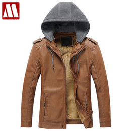 Wholesale Leather Jackets Wool Lining - Wholesale- New Men Leather Jacket Spring Autumn Men Soft PU Leather Hooded Jackets Casual Fur lining Coats Male Jaqueta Masculinas Couro