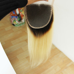 Wholesale 4x4 Swiss Lace Closure - Ombre 1b #613 Dark root blonde hair Peruvian Straight Hair Lace Closure Free Part 4x4 Swiss lace closure Free Shipping
