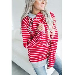 Wholesale Fake Two Pieces Jacket - sweatshirt for women striped hoodies Zipper Stitching Hoodies Long Sleeve Patchwork Pullover fake Two Piece Autumn Winter Jacket Sweater