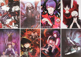Wholesale Anime Pendants - Cartoon Anime Tokyo ghouls Posters Paper Poster Wall Sticker Room Decoration 42X29cm 8Pcs set High Quality Free Shipping