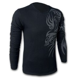 Wholesale Tattoo Style T Shirts - Wholesale-Free shipping European and American Style Dragon tattoo long sleeve Brand poloshirt T shirt for men ,Mens O-neck Fashion T-shirt