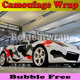Wholesale Gloss White Wrap - Red white Black arctic Camo Vinyl Car Wrap Film With Air Rlease Gloss   Matt Snow Camouflage Pixel Car Sticker 1.52x30m Roll(5x100ft)