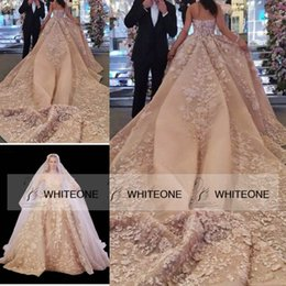 Wholesale Elie Saab Lace Wedding Dresses - Luxury Floral Elie Saab Wedding Dresses 2015 Champagne Strapless Chapel Train Backless Ball Gown Wedding Dresses