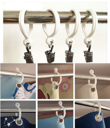 Wholesale Plastic Shower Accessories - New Curtain Poles Shower Rod Hook Hanger White Color Plastic Ring Bath Drape Loop Clasp Drapery Home Use Clips wen4677